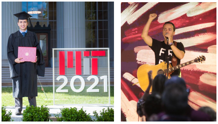 Paulo stands in cap and gown next to the MIT 2021 sign, and performing with his guitar